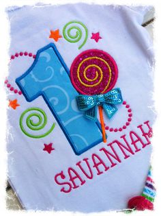 1st LOLLIPOP BIRTHDAY ONESIE Personalized by BetterThanBows, $24.95