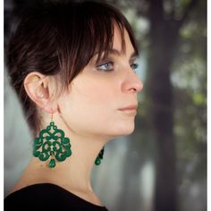 Nuage green lace earrings | Tita' Bijoux