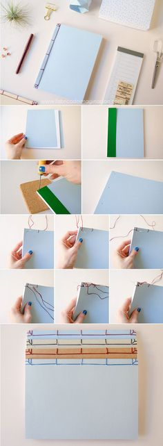 DIY Japanese Bookbinding · DIY Japanese Binding · Imagination Factory · Steps in spanish Handmade Notebook, Diy Notebook, Handmade Books, Handmade Journals, Book Crafts, Diy And Crafts, Paper Crafts, Japanese Binding, Bookbinding Tutorial