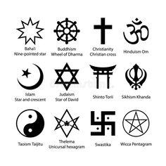 Ensemble de symboles religieux Ensemble noir simple d'icône de signes de religion illustration libre de droits Religions Du Monde, Taoism, Ancient Symbols, Star Of David, Judaism, Hinduism, Signs, Wicca, Symbols