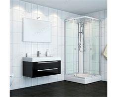 104045  6312233 VikingBad dusjkabinett rett 90x90x210 Grå profiler, klart glass Double Vanity, Bathroom, Glass, Washroom, Drinkware, Full Bath, Corning Glass, Bath, Bathrooms