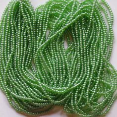 Slate Green Vintage Seed Beads Full hank Long Strands Bead size 10o 16bpi