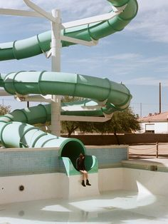 The gang stops by an abandoned water park. Aesthetic Photo, Aesthetic Pictures, Photo Bleu, Mint Green Aesthetic, New Wall, Film Photography, Fashion Photography, Editorial Photography, Picture Wall