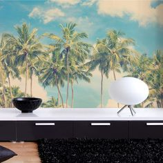 My design inspiration: Vintage Summer Palms Wall Mural on Fab.