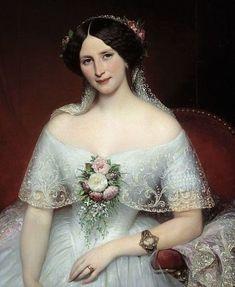 """Portrait of Madame Pouchet, wife of the doctor Archimede Pouchet, a friend of Gustave Flaubert. Painting by Joseph Court (1797-1865), 1849. 0,97 x 1,3 m. Beaux-Arts Museum, Rouen, France"" #kunstskizzen"