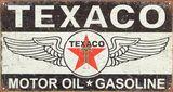 Texaco Winged Logo Distressed Retro Vintage Tin Sign