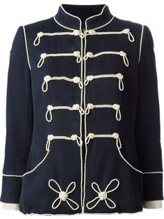 Chanel Vintage Military Style Pearl Embroidered Jacket  FR 44 UK 14-16 #Chanel #MilitaryJacket #Everyday