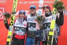 Great to see three of my favorite ski jumpers on the podium together.   F.v: Stefan Kraft, Daniel-André Tande & Michael Hayböck