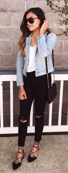 #spring #outfits Denim Jacket & Black Ripped Skinny Jeans & Black Laced Up Pumps