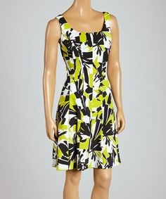 Another great find on #zulily! Black & Lime Abstract Floral Sleeveless Dress by Ronni Nicole #zulilyfinds