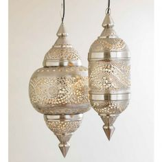 """POWDER OVER VANITY - Medium size 26""""H x 12""""D $298.00 Moroccan Hanging Lamp Collection - Silver Finish 