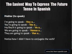 Learn Spanish - Learning Spanish Verbs Made Easy! Why Learn Spanish, Learn Spanish Online, Spanish 1, Spanish Lessons, Spanish Class, Learning For Life, Always Learning, Future Tense Spanish, Spanish Language Learning