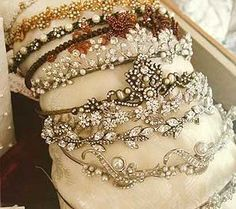 Vintage tiaras.  Now, I'm not saying I'd wear them all at the same time . . . but I AM saying I'd wear them.  A lot. Vintage Love, Etsy Vintage, Vintage Antiques, Vintage Decor, Vintage Style, Royal Jewels, Crown Jewels, Shabby, Vintage Outfits