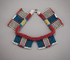 Africa | Beaded neckpiece from the Zulu people of South Africa | Late 19th or early 20th century