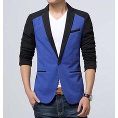 #Blue on black men's cotton #suit single button fastening