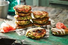 These Osaka-style pancakes are often made with cabbage or spring onion, topped with a strong, sweet okonomi sauce (similar to barbecue sauce) and striped with Kewpie mayonnaise.