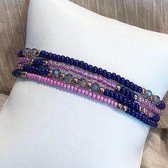 Navy Orchid Individual Beaded Bracelet Set Stretch Bracelets | Etsy Stackable Bracelets, Stack Bracelets, Stretch Bracelets, Beaded Rings, Beaded Bracelets, Amethyst Birthstone, Bohemian Accessories, Metal Beads, Bracelet Set