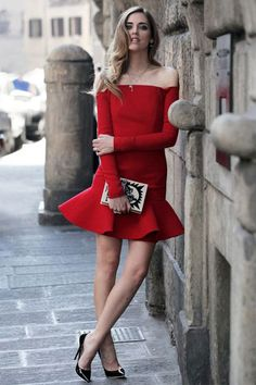 Red Off Shoulder Bodycon Dress with Ruffle Hem |