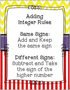 INTEGER REVIEW {EXIT SLIPS & PRACTICE SHEETS FOR POSITIVE AND NEGATIVE NUMBERS} - TeachersPayTeachers.com