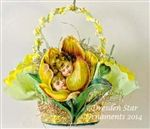 Yellow Tulip with Children's Faces on Green and Yellow Crepe Paper Basket. Handmade OOAK by Dresden Star http://www.hometraditions.com/category_s/1909.htm