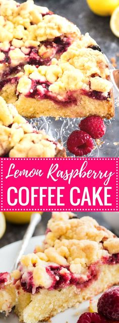 This easy Lemon Raspberry Cake is topped with delicious cookie-like streusel and filled with juicy raspberries! A buttery and moist coffee cake that is perfect for spring and summer. Your guests will be begging you for the recipe!