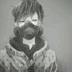 Monochrome Anime Boy with a Gas mask