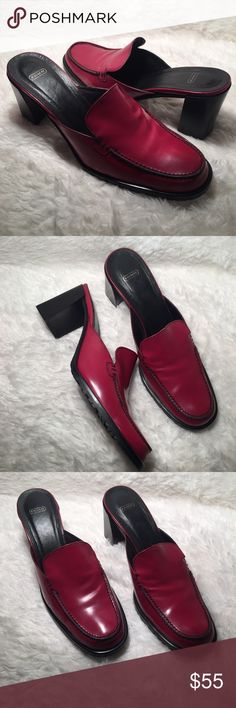COACH Patti Red Leather Mule US size 7.5B So the story is these shoes are not the original color from the factory. We actually altered them a little bit by redying the shoe. So by the pictures you will notice they are a more pinkish red than a burgundy.  A great spring color! Coach Shoes Mules & Clogs