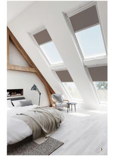 Save money and time with our fantastic skylight blinds which are compatible with VELUX skylight blinds. Available in manual operation and also electric operation. Attic Bedroom Designs, Attic Bedrooms, Attic Design, Interior Design, Blinds For Velux Windows, Skylight Blinds, Loft Room, Bedroom Loft, Bedroom Decor