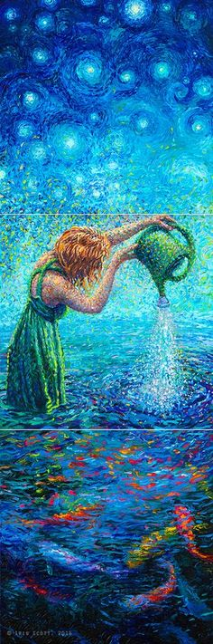 By Iris Scott | oil on canvas | finger painting | triptych | originals and prints | www.IrisScottFineArt.com Redhead in green dress pours water from a green plastic watering can into a pool of koi. Surrealism, Impressionism. Reminiscent of the artist's favorite artist Van Gogh.