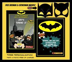 Personalized Batman Invitation Batman by WalkingMombieDesign Catwoman Mask, Batman And Catwoman, Batman Invitations, Personalized Invitations, Batman Birthday, Batman Party, Gotham City, Party Printables, Decoration