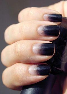 manucure ombrée, réaliser un dégradé en beige et noir sur ses ongles