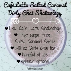 Cafe Latte Salted Caramel Dirty Chai Shakeology - a superfood meal replacement shake with prebiotics, probiotics + loads of other good for you ingredients Best Smoothie Recipes, Superfood Recipes, Protein Shake Recipes, Good Smoothies, Protein Shakes, Shake Shake, Meal Replacement Shakes, Shakeology, 21 Day Fix