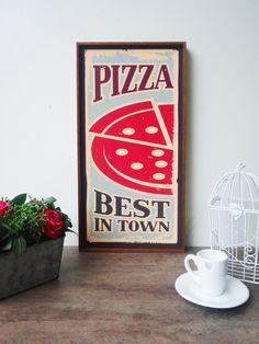 Quadro Gourmet Pizza Best In Town - Top Quadros - Loja de Quadros para decoração #quadro #decoracao #gourmet #cozinha #parede #wall #decoration #lojaonline #topquadros #inspiracao #naparede #alimentos #cheff #decora #home #decor