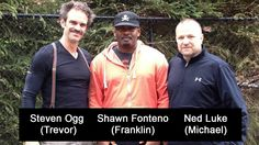 with guys behind the voice of actors Trevor, Franklin, and Michael Trevor Philips, Grand Theft Auto, Voice Actor, Gta 5, Gq, The Voice, Rain Jacket, Windbreaker, Interview