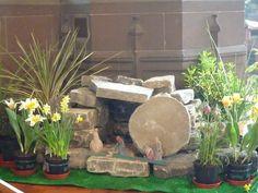 Easter Garden (Grace Garden / Resurrection Garden) I will do this! Church Altar Decorations, Burlap Decorations, Easter Garden, Easter Décor, Easter Religious, Flower Festival, Church Flowers, Easter Holidays, Garden Crafts