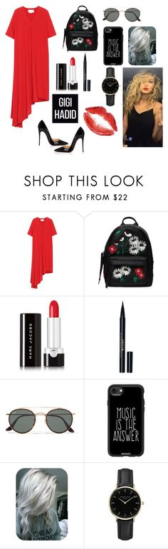 """""""Gigi red and black"""" by tajinder1010 ❤ liked on Polyvore featuring Maison Margiela, Chiara Ferragni, Marc Jacobs, Stila, Ray-Ban, Casetify, ROSEFIELD and Christian Louboutin"""