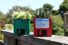 Floppy disks turned succulent planters // 13 Ways to Turn Your Outdated 90s Tech Into Truly Usable Things
