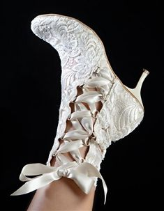 Vintage Ivory Lace Ankle Wedding Boots by House of Elliot; la… Vintage Ivory Lace Ankle Wedding Boots by House of Elliot; Lace Ankle Boots, Shoe Boots, Lace Shoes, Ankle Straps, Bridal Lace, Bridal Shoes, Wedding Lace, Modest Wedding, Wedding Dj