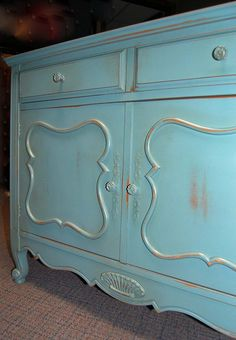 Small buffet painted teal