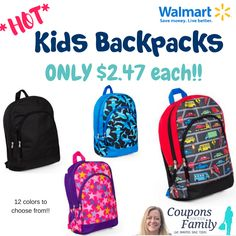 cf4984f112c2 Back To School- Walmart Kids Backpacks only  2.47!!