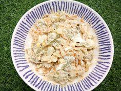 Ensalada de pasta con salsa de palitos de cangrejo https://mycook.es/receta/ensalada-de-pasta-con-salsa-de-palitos-de-cangrejo