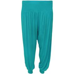 Sue Harem Trousers ($25) ❤ liked on Polyvore featuring pants, turquoise, elastic waistband pants, loose fitting pants, blue pants, loose harem pants and cuffed harem pants