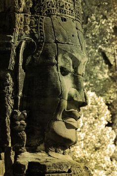One of the majestic heads at Bayon Temple, Angkor Thom, Cambodia - photo by David Henderson