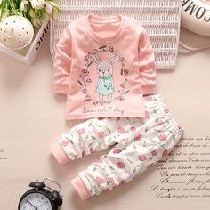 2016 baru pakaian bayi set bayi perempuan pakaian lengan panjang t-shirt + celana 2 pcs setelan katun bayi perempuan yang baru lahir pakaian set