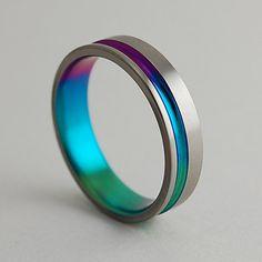 Titanium Ring , The Cosmos in Sunset Purple,New Beginnng Blue and Immortal Green. NEEEEEDDDDDD