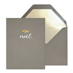 by sugar paper // Noel Holiday card, letterpress printed with white and gold foil on a smoke grey card. Paired with a smoke grey envelope with agold diagonal stripe liner.