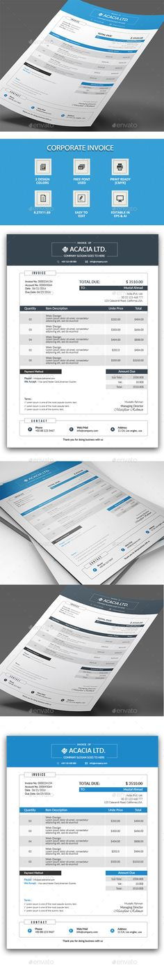 Invoice Template MS Word invoice PSD invoice EPS invoice - easy invoice