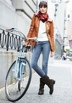 try with gray sweater tunic or cable knit light brown, faded straights, brown harness boots, scarf and jacket