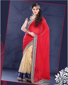Crimson Red and Papaya-whip Yellow embroidered party saree