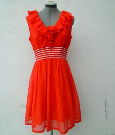 Vintage 1960s MISS ELLIETTE Red Summer Chic Sleeveless Cocktail Party Dress #MissElliette #ALine #Cocktail